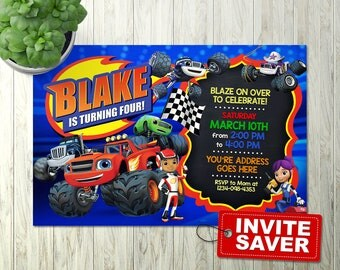 Blaze and the monster machines Invitation, Blaze and the monster machines Birthday Invitation, Blaze and the monster machines Party