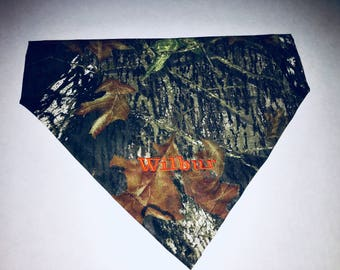 Camo, Dog Bandana, personalized, Hunting, Mossy Oak, Embroidery, monogram, Puppy Gift, Christmas Gift, Birthday, Dog Lovers  Gift, Dog scar