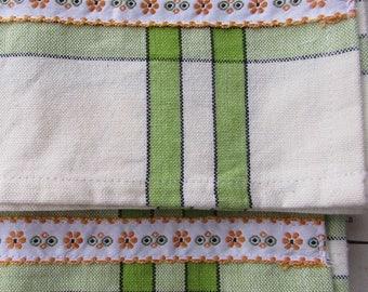 2 Italian Folkloric Trim Retro Kitchen Cotton Tea Towels Ivory With Green Stripes