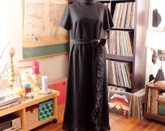 """plus size 1960s black maxi dress by Blakely, vintage volup evening gown, womens 2x, 40"""" waist"""
