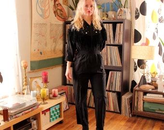 1980s black jumpsuit, bedazzled fringe jumper . womens small medium