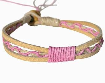 Tan Leather Pink Hemp Bracelet or Anklet