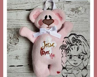BeAR Jesus Loves Me Applique 3D Plush Softie Toy ~ In the Hoop ~ Downloadable DiGiTaL Machine Embroidery Design by Carrie