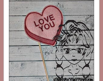 LoVE YoU HeART Themed Holiday PHoTO PRoP 4 Parties and Games ~ In the Hoop ~ Downloadable DiGiTaL Machine Embroidery Design by Carrie