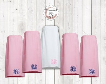 Personalized Spa Wrap , Monogrammed Wedding Wraps , Waffle Spa Day Wrap , Embroidered Spa Wraps , Sorority Gift, Gift for her