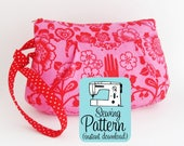 Poppy Wristlet PDF Sewing Pattern | Sew a zip top clutch handbag purse with a wristlet strap and one interior pocket.