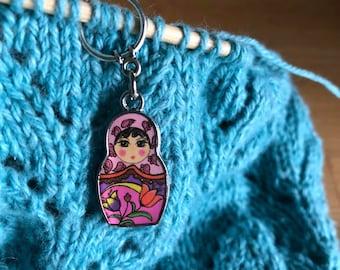 Set of 5 Matryoshka/Russian Doll Stitch Markers for Knitting