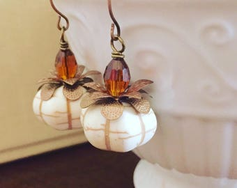 Off White Synthetic Turquoise Howlite Pumpkin Bead Earrings with Copper Toned Accents and Brown Stem for Thanksgiving or Fall