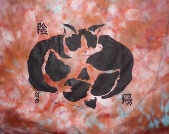 funky tie dye asian art cats t-shirt men's size medium