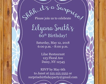Surprise Birthday Party Invitation Purple Violet Baby Blue Floral Burst 50th 60th Any Age Spring Invite Printable 5x7 Digital JPG File (602)
