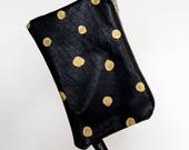 Leather Zip Purse with Gold Dots front, screen printed Mountains on reverse. Made in Melbourne, ecofriendly ink, YKK metal zip