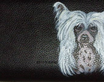 Chinese Crested Dog Custom Painted Leather Checkbook Cover Checkbook holder