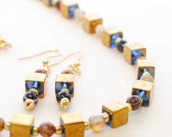 Gold Necklace Set Cubist Dream - Beaded Necklace - Modern Necklace - Everyday Jewelry - Necklace Earrings Set - Gift for Mom - Jewelry Set