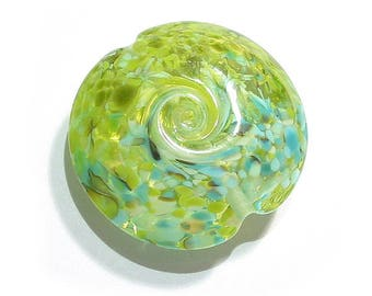 Land to Sea Jumbo Lentil Handmade Glass Lampwork Bead