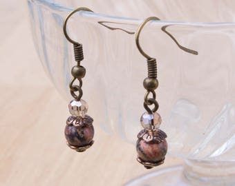 Leopardskin agate earrings  - Gemstone with bronze, red copper and twinkle bead earrings | Gemstone jewellery | Crystal jewelry