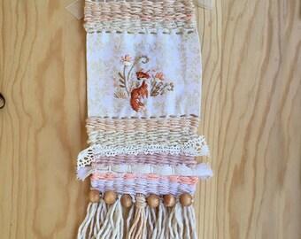 Embroidery weaving art meadow fox wall hanging boho woodland nursery baby shower gift