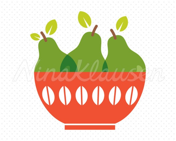 Pears in Bowl Clipart for Commercial Use - 0006