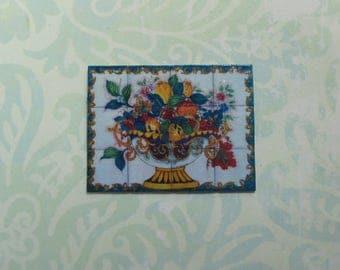 Dollhouse Miniature Italian Bowl of Fruit Tile Mural