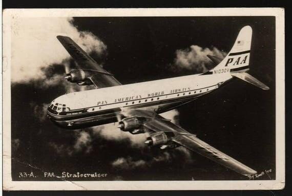Pan American World Airways - PAA Stratocruiser - 1952 - Vintage Airplane Photo Postcard