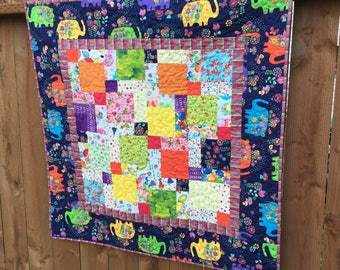 Elephant Baby Quilt, Bright Colors, Baby Blanket, Nursery Decor, Handmade Quilt, Patchwork Quilt, Child Quilt, Baby Girl, small quilt