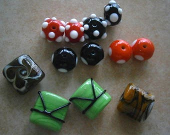 Lot  Lampworked Glass Beads Orphans,  Glass Torchworked Beads, Clearance Sale