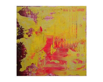 """Modern Abstract Painting """"Bliss"""" by Lisa Carney, Original 12x12 Textured Acrylic on Wood, Colorfield, Paint Build-Up, Yellow, Pink, Bright"""