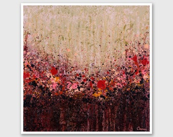 """12x12"""" Abstract PRINT of Painting """"Summer Tease"""" by Lisa Carney - Floral Abstract, wall art, Giclee Print, Modern painting, Red, Pink, Beige"""