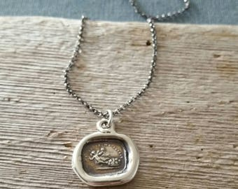 Sample Sale - One heart suffices me - One of a Kind wax seal pendant