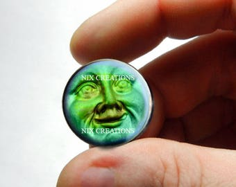 Iridescent Blue Green Moon Face Glass Cabochon  - for Jewelry and Pendant Making