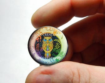 Retro Glass Owl Cabochon for Jewelry and Pendant Making - Design 13