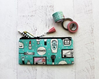 makeup lovers zip pouch - pencil bag - turquoise pouch - planner girls gift - birthday under 15 gift - zipper pouch - planner pouch