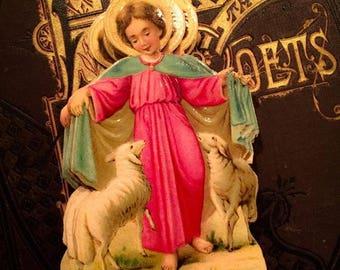 SALE 1pc VICTORIAN RELIGIOUS Scrap Antique 1880s Style D