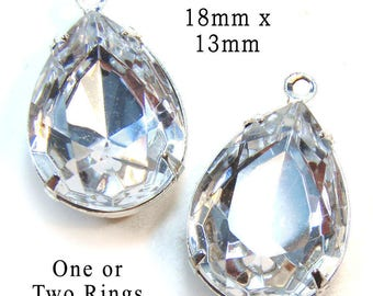 Crystal Glass Beads - 18mm x 13mm Pear or Teardrop - Silver or Brass Settings - Rhinestone Pendant or Earrings - Jewelry Supply - One Pair