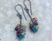 MULTI GEMSTONE earrings, RAINBOW cluster earrings, multi gems on sterling silver chains, oxidized sterling silver, Boho earrings