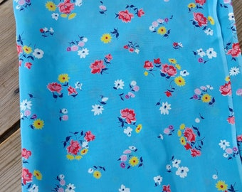 Vintage 1940s Fabric 40s Novelty Print Floral Silk Blend Rayon 1.5 Yds