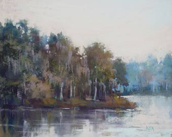 Peaceful MarshLandscape Moody Original Pastel Painting Karen Margulis 8x10