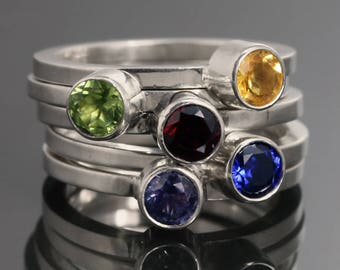 Lab Created Birthstone Ring. Sterling Silver. Man Made Gemstone. Made to Order. Skinny Stacking Ring.