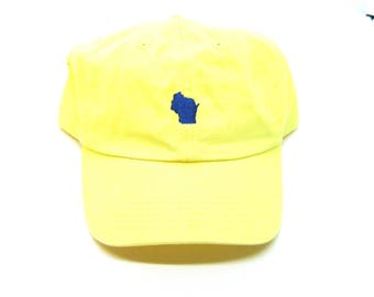 Clearance - Sale - Gift - Gracie Designs Hat - Navy on Yellow Wisconsin Dad Hat