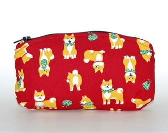 Shiba Inu Change Purse - Fabric Glasses Case, Dog Purse, Shiba Dog, Japanese Dog, Dog Owner Gift, Zipper Pouch, Maroon Red, Kawaii Dog Bag