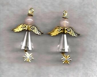 ON SALE Crystal and Quartz Angel Earrings