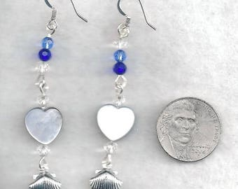 ON SALE Crystal and Clam Charm Drop Earrings