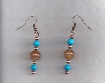 Turquoise and Agate Drop Earrings
