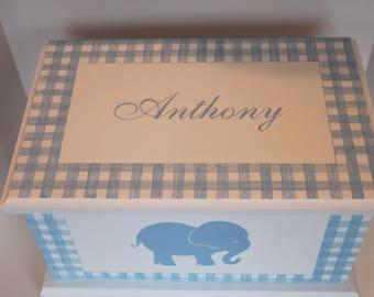 CUSTOM order for Donna - Baby Keepsake Bereavement Chest Memory Box personalized - blue gingham