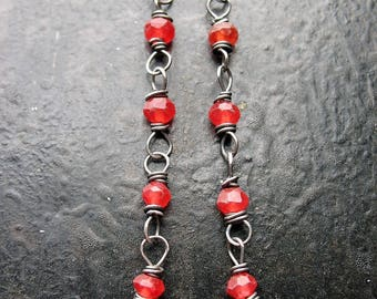 Faceted Red Quartz Antiqued Sterling Bead Chain - 2 pieces - 2 inches in length
