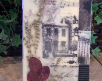 dried flowers art, flower collage, country decor, rustic art, farmhouse decor, encaustic art, rustic art
