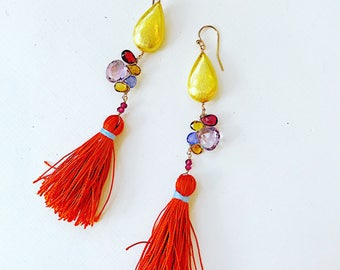 Tassel Woven Earrings With pink amethyst and Garnet, tourmaline and Tanzanite