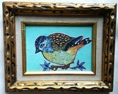 L'il Lard Butt series - Spotted Pardalote -vintage gold wooden frame - the Elusive Aussie