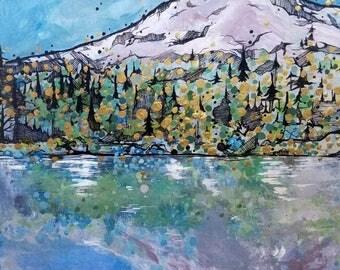 Wooden mirror Lake Mount Hood Oregon Painting - metallic gold leaf details - modern nature landscape