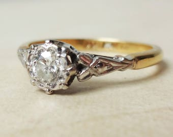 Art Deco .35 Carat Diamond Solitaire Ring, 18k Gold, Platinum and Diamond Engagement Ring Approx. Size US 7