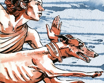 Artemis Greek goddess and running greyhound illustration print in multiple sizes